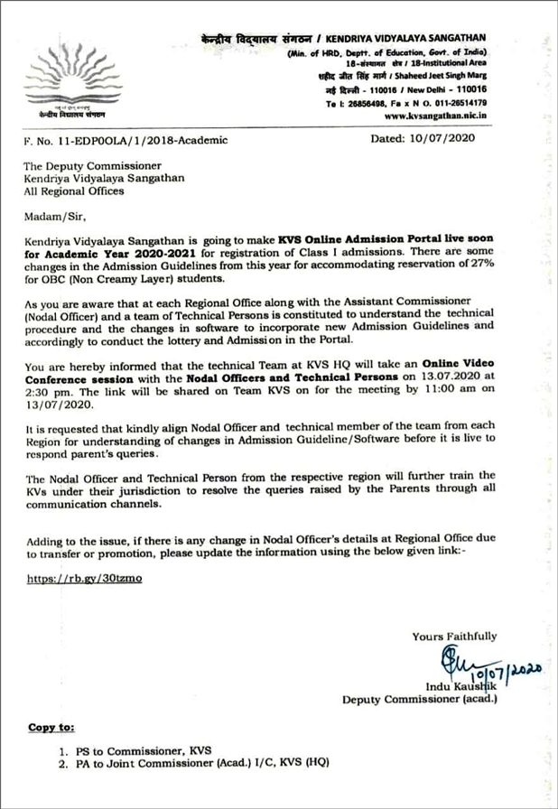 kvs-online-admission-2020-21-notice
